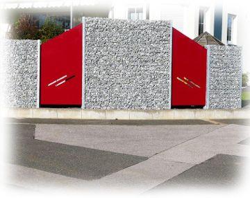 Zaungabione als dekorativer Sichtschutz im Garten - Frontansicht