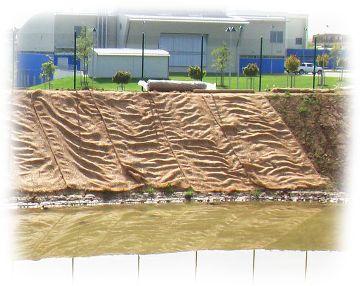 Verlegtes Jutegewebe an einem steilen Flussufer